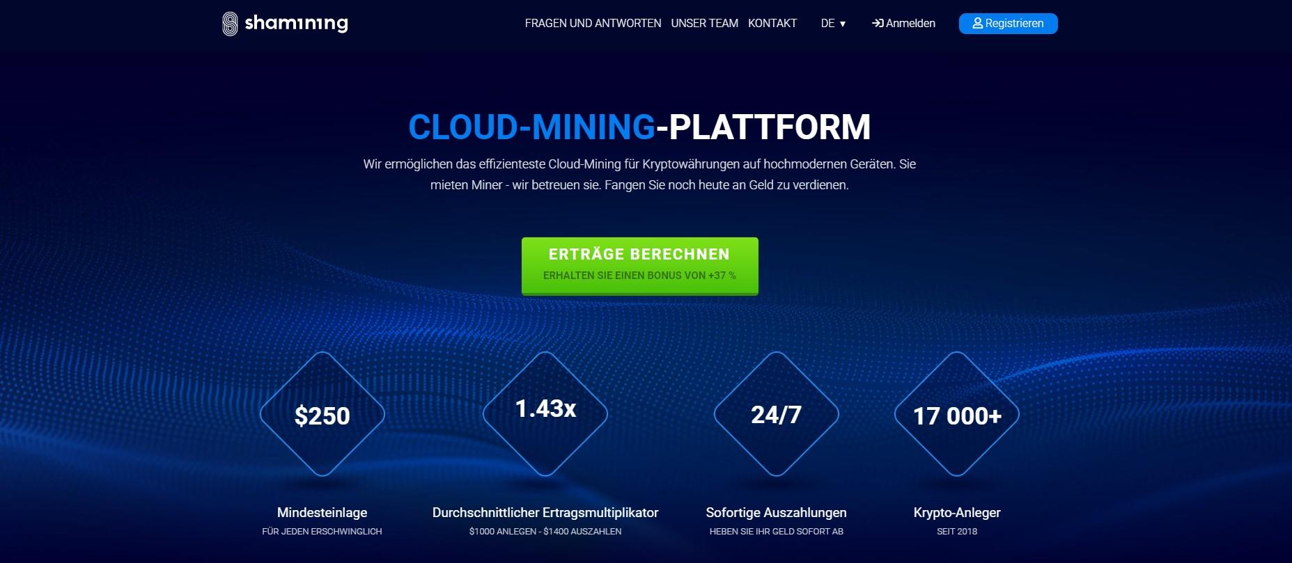 Shamining ist die Nummer 1 Cloud Mining Site: hier sind die Gründe, warum.